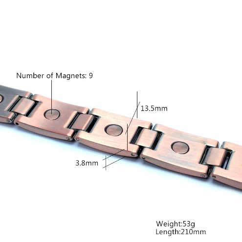 Унисекс Титаниева магнитна гривна за борба със високото кръвно налягане, цвят Мед
